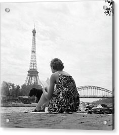 Young Woman Taking In The Sun On The Acrylic Print by Keystone-france