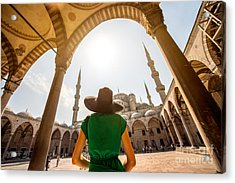 Young Woman Traveler In Black Hat And Acrylic Print