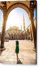 Young Woman Traveler In The Green Dress Acrylic Print