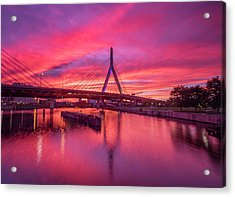 Zakim Bridge Sunset Acrylic Print