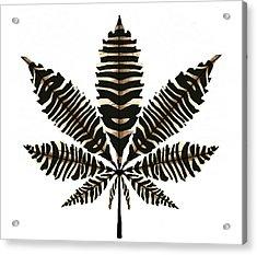 Zebra Pattern Marijuana Leaf 2 Acrylic Print