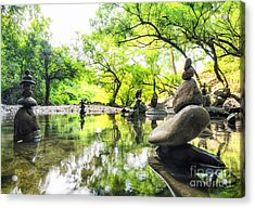 Zen Pond In Forest. Photography Of Acrylic Print