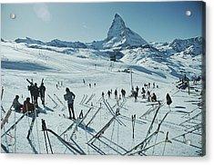 Zermatt Skiing Acrylic Print by Slim Aarons