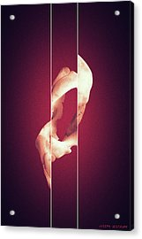 Zero - Surreal Abstract Elephant Bone Collage With Lines Acrylic Print