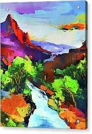 Zion - The Watchman And The Virgin River Acrylic Print