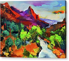 Zion - The Watchman And The Virgin River Vista Acrylic Print