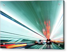 Zipping Through The Holland Tunnel Acrylic Print by Tanja-tiziana, Doublecrossed Photography