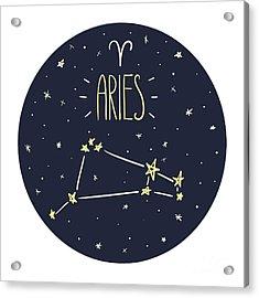 Zodiac Signs Doodle Set - Aries Acrylic Print