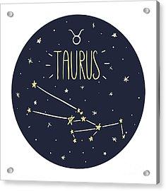 Zodiac Signs Doodle Set - Taurus Acrylic Print