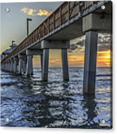 Fort Myers Beach Fishing Pier Acrylic Print by Edward Fielding
