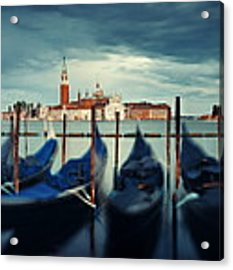 Gondola And San Giorgio Maggiore Island Panorama Acrylic Print by Songquan Deng