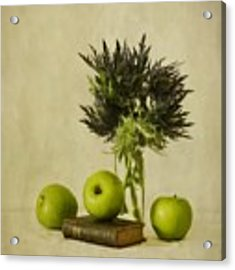 Green Apples And Blue Thistles Acrylic Print