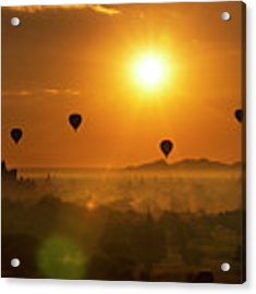 Holy Temple And Hot Air Balloons At Sunrise Acrylic Print by Pradeep Raja PRINTS