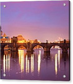 Prague Skyline And Bridge  Acrylic Print by Songquan Deng