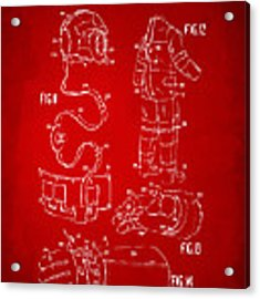 1973 Space Suit Elements Patent Artwork - Red Acrylic Print