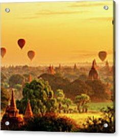 Bagan Pagodas And Hot Air Balloon Acrylic Print by Pradeep Raja PRINTS