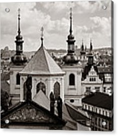 Prague Skyline Rooftop View Panorama Acrylic Print by Songquan Deng