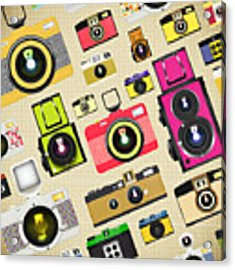 Retro Camera Pattern Acrylic Print by Setsiri Silapasuwanchai