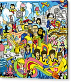 70 Illustrated Beatles' Song Titles Acrylic Print