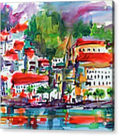 Amalfi Coast Italy Expressive Watercolor Acrylic Print by Ginette Callaway