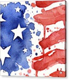 American Flag Watercolor Painting Acrylic Print