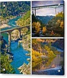 American River Triptych 3 Acrylic Print by Sherri Meyer