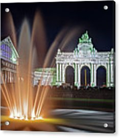 Arcade Du Cinquantenaire Fountain At Night - Brussels Acrylic Print by Barry O Carroll