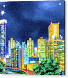 Atlanta Skyline At Night Acrylic Print by Mark Tisdale