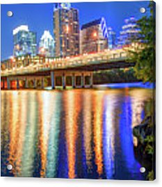 Austin Texas Skyline Night Reflections Acrylic Print by Gregory Ballos