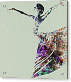 Ballerina Dancing Watercolor Acrylic Print by Naxart Studio