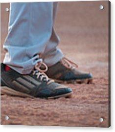 Baseball Cleats In The Dirt Acrylic Print by Kelly Hazel