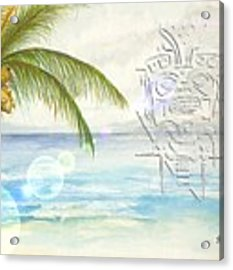 Beach Etching Acrylic Print by Darren Cannell