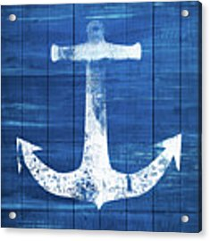 Blue And White Anchor- Art By Linda Woods Acrylic Print