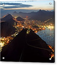 Brasil,rio De Janeiro,pao De Acucar,viewpoint,panoramic View,copacabana At Night Acrylic Print by Juergen Held