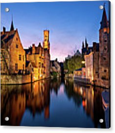 Bruges Canals At Blue Hour Acrylic Print by Barry O Carroll