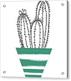Cactus In A Green Pot- Art By Linda Woods Acrylic Print by Linda Woods