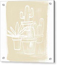 Cactus In Pots- Art By Linda Woods Acrylic Print by Linda Woods