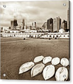 Chicago Skyline From The Beach - Sepia Acrylic Print by Gregory Ballos