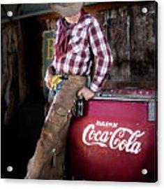 Classic Coca-cola Cowboy Acrylic Print by James Sage