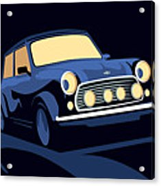 Classic Mini Cooper In Blue Acrylic Print