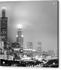 Cloudy Downtown Chicago Skyline In Black And White Acrylic Print by Gregory Ballos
