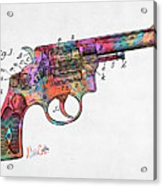 Colorful 1896 Wesson Revolver Patent Acrylic Print by Nikki Marie Smith