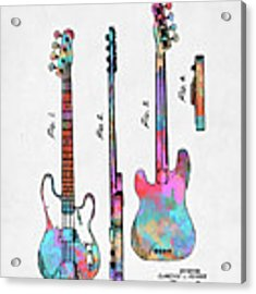 Colorful 1953 Fender Bass Guitar Patent Artwork Acrylic Print by Nikki Marie Smith