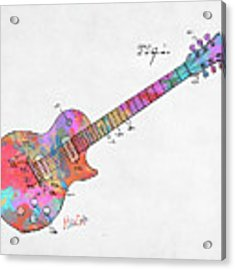 Colorful 1955 Mccarty Gibson Les Paul Guitar Patent Artwork Mini Acrylic Print by Nikki Marie Smith