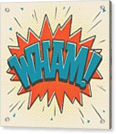 Comic Wham On White Acrylic Print by Mitch Frey