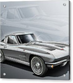 Corvette Sting Ray 1963 Silver Acrylic Print by Etienne Carignan