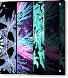 Cosmic Collage Mosaic Left Side Flipped Acrylic Print by Shawn Dall