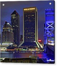 Crossing The Main Street Bridge - Jacksonville - Florida - Cityscape Acrylic Print by Jason Politte