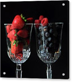 Cups Of Berries Acrylic Print by Angela Murdock
