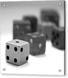 Dice 1- Black And White Photo By Linda Woods Acrylic Print by Linda Woods